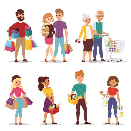 Kolekcja będzie ludzi na zakupy z torby na zakupy. Zakupy ludzie kobietę i mężczyznę z torbami. Zakupy zbiór ludzi. osób stylu mieszkanie w centrum handlowym supermarket spożywczy sklep rysunek wektor.