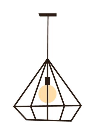 pendant lamp: Modern lamp cool pendant isolated on white. Modern lamp interior light design and modern lamp decoration. Modern lamp home object bulb furniture. Modern lamp bright night ceiling equipment. Illustration