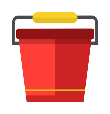 household equipment: Red bucket of water. Vector illustration water bucket. Fire water bucket extinguish. Bucket of water garden household equipment. Design water bucket garden and appliance water bucket harvest. Illustration