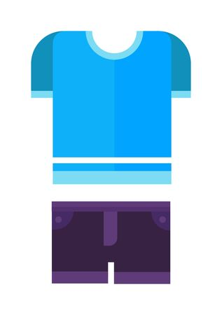 blue shirt: Purple shorts and blue shirt, boys wear, baby clothes isolated on the white background. Flat vector baby clothes childrens wear, summer clothes, baby clothes and fabric baby clothes.