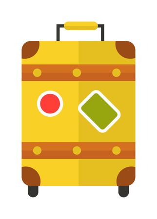 packing suitcase: Large polycarbonate yellow suitcase isolated on white and yellow suitcase travel voyage. Yellow suitcase handle baggage and Yellow suitcase tourist packing. Yellow suitcase plastic vacation bag. Illustration