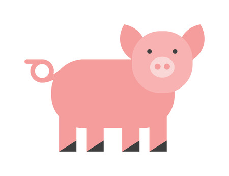 husbandry: Cute pig. Cheerful pig. Funny pig vector. Domestic isolated mammal, agriculture cute pink pig and piggy snout, small icon funny young cartoon animal. Rural silhouette farm animal cartoon cute pig.