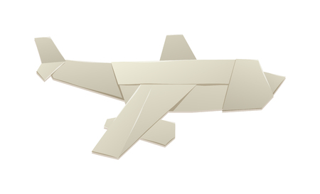Paper toy plane isolated on white background and cartoon toy plane vector. Toy plane origami paper airplane and retro flight travel toy plane. Toy plane cartoon children toy. Paper plane fly travel.