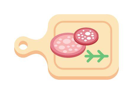 fiambres: Ahumado salchich�n aislado sobre fondo blanco rodajas de salchicha y la ilustraci�n vectorial. Salami cocina de cerdo rebanadas rebanada de salchicha y producto fresco ingrediente rodajas de salchicha corte delicatessen.