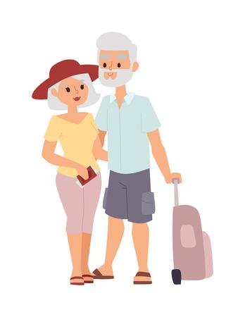 Summer oude paar mensen vakantie reizen. Vakantie oude mensen paar gelukkig familie reizen samen. Reizende gepensioneerde echtpaar familie mensen op vakantie samen karakter vector illustratie.