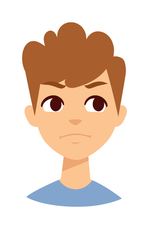 angry boy: Boy makes angry face. Angry boy face vector and cute little angry boy. Cartoon character angry boy emotion face and angry boy sadness innocence bad mood. Cute kid expression emotion face. Illustration