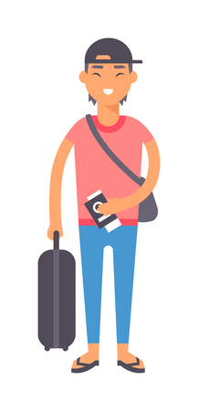 alone man: Vacation travel boy vacation isolated, teen man alone travel concept vector. Vacation travel boy character andf cute vacation travel boy fashion hipster style.