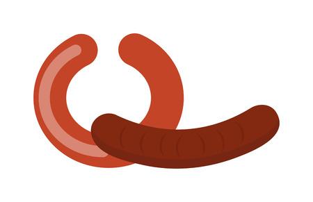 comida alemana: Pila de los alimentos embutidos cocidos vector. salchichas alemanas sobre fondo blanco y sabrosas salchichas alemanas frescas. salchichas alemanas carne a la parrilla de barbacoa comida caliente. Oktoberfest grasa deliciosa comida alemana.