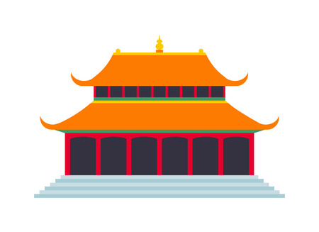 chinese temple: Chinese temple asia culture architecture and travel ancient building chinese temple. Chinese famous old structure temple, chinese religion. Beautiful china travel landmarks chinese temple vector. Illustration