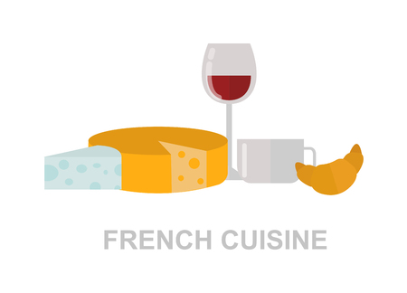Red wine, brie and camembert cheeses with french wine and croissant. French food red wine and sweet croissant, gourmet cheese french food. Vector french food healthy tasty wine red drink.