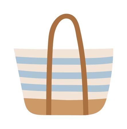 beach bag: Summer bag isolated on white background. Summer bag vacation travelling concept. Flat design illustration Summer bag travel suitcase icon. Travel beach bag icon. Illustration