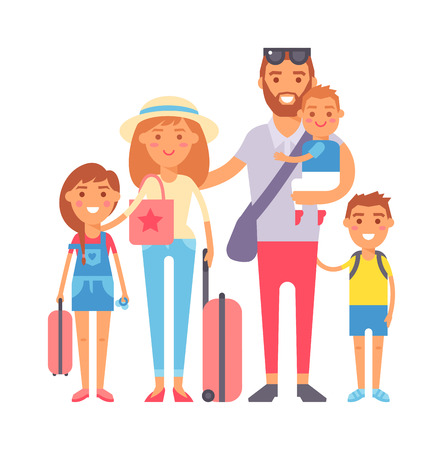 Happy family vacation together on beach and vacation family vector character. Vacation family fun together and Vacation family travel joy outdoors. Parent leisure cheerful vacation family. Illustration