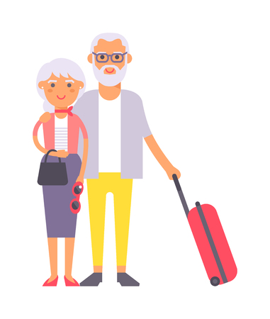 pensioner: Summer old couple people vacation traveling. Vacation old people couple happy family travel together. Traveling pensioner couple family people on vacation together character vector illustration.