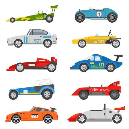 Corsa auto sportive retrò. sintonizzazione Supercar auto retrò sport e stile piatto vector retro sport car illustrazione isolato su sfondo bianco. Retro automobile sportiva del veicolo dell'automobile disegno trasporto classico.