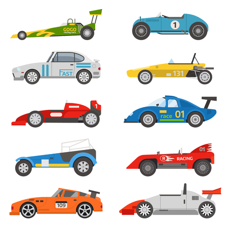 front wheel drive: Race retro sport car. Supercar tuning retro sport car and flat style vector retro sport car illustration isolated on white background. Retro sport car vehicle automobile classic transport design.