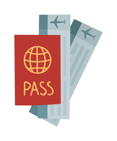 vocation: Vector illustration passport with tickets. Holiday passport and tickets, vocation passport and tickets concept. Passport and tickets travel, tourism business vacation, trip pass tourist flight symbol.