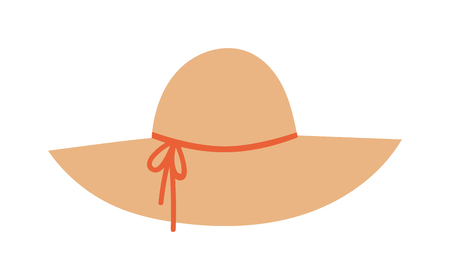 hatband: Woman panama hat isolated on white background and flat vector girls hat. Fashion sun protection yellwoman panama w hat and summer hat color design. Panama hat style accessory