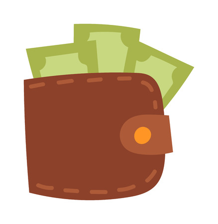money wallet: Money wallet full of green dollars. Flat style money wallet vector illustration. Business purse currency rich money wallet and shopping payment wealth money wallet finance cash sign.