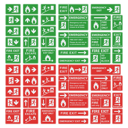 exit sign: Set of emergency exit sign vector. Fire exit, emergency exit, fire assembly point, evacuation lane, fire extinguisher. For emergency use only, no re-entry building exit sign. Exit sign green warning.