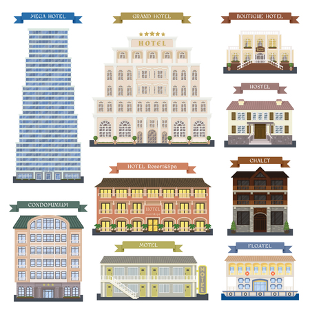 luxury apartment: Real estate design hotel buildings and hotel buildings vector set. Hotel buildings architecture city and urban hotel buildings modern exterior symbol town. Hotel buildings perspective graphic center.