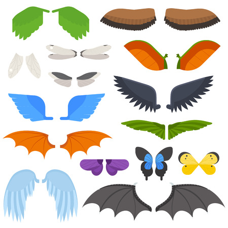 pinion: Wings isolated collection animal feather and wings isolated pinion. Wings isolated bird feather animal freedom flight and vector wings isolated peace design flying different element.