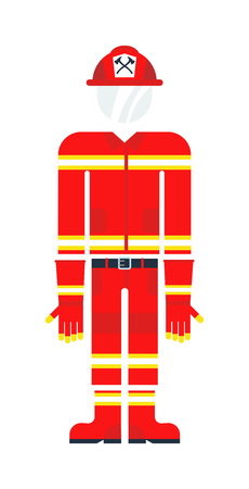 firefighter uniform: Vector illustration of firefighter uniform isolated on white background. Protective clothes firefighter costume and red safety emergency person protective uniform firefighter costume.