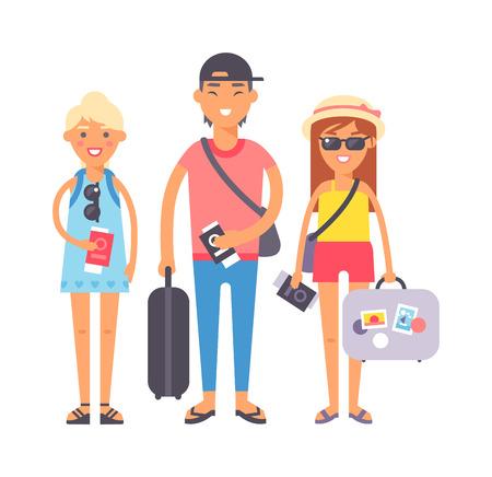 Estate la gente di vacanza itinerante. Vacanza persone coppie corsa famiglia felice insieme. Viaggiando coppia famiglia le persone in vacanza insieme illustrazione carattere vettoriale.
