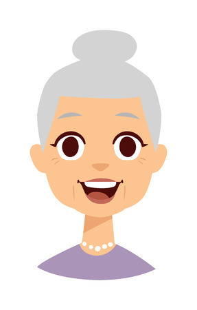 昔の人はかわいいおばあちゃんと面白いかわいいおばあちゃん顔。かわいいおばあちゃんベクトル文字や漫画かわいい幸せなおばあちゃん。かわい