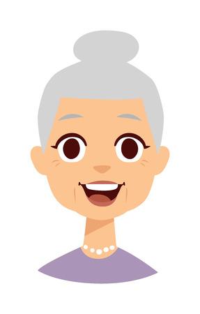 Alte Leute nette Oma und lustige nette Oma Gesicht. Nette Oma Vektor-Zeichen und Cartoon nette glückliche Oma. Nette Oma erwachsenen Frau glücklich Gesicht und alte Oma Charakter Liebe Lifestyle.