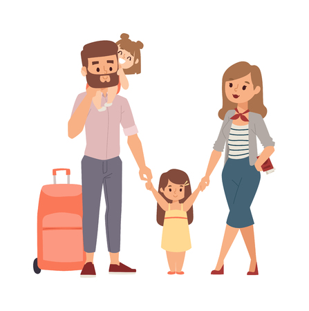 family vacation: Happy family vacation together on beach and vacation family vector character. Vacation family fun together and Vacation family travel joy outdoors. Parent leisure cheerful vacation family. Illustration