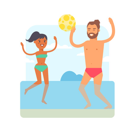 summer fun: Happy family playing at beach games. Summer vacation concept beach games and people fun sea leisure ball active beach games. Beach games beach volleyball lifestyle activity girl recreation.