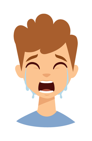 one boy: Crying kid boy isolated on white. Crying kid boy vector and cute crying boy. Crying boy expression cry portrait and crying boy emotion face. Portrait emotion kid boy face with tears. Illustration