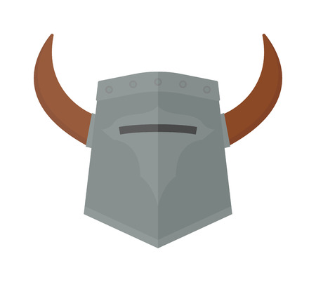 viking helmet: Viking helmet isolated and knight helmet vector warrior ancient. Metal old knight helmet and medieval soldier viking helmet armor history ancient sign. Strong horned safety protection helm protective. Illustration