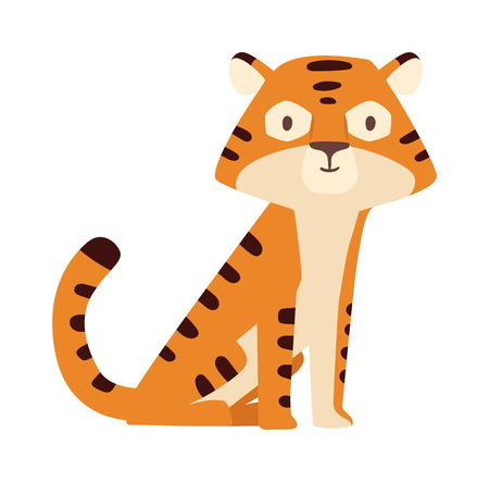 Cartoon tiger happy little animal and cartoon tiger vector character. Zoo cartoon tiger happy predator and cartoon tiger jungle comic mascot. Africa safari feline young cartoon tiger.