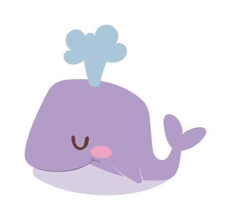 Happy cartoon whale and cute, water cartoon whale animal. Cartoon whale cute happy mammal and cartoon whale underwater marine wildlife animal. Cetacean comic fin tail cheerful fountain mascot. Vettoriali