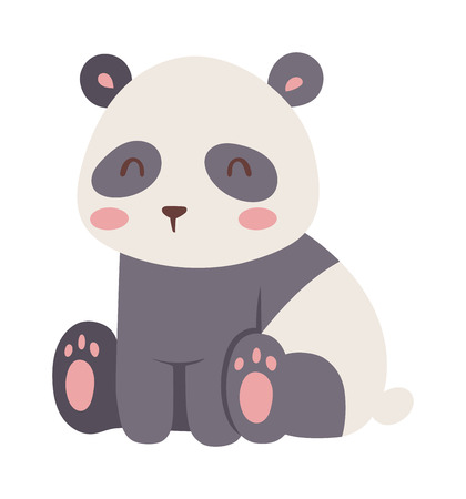 zoology: Panda bear illustration curious panda wildlife and panda bear vector character. Wildlife zoo asia panda bear and panda bear endangered species fat giant. Park zoology forest panda animal.