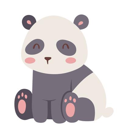 endangered species: Panda bear illustration curious panda wildlife and panda bear vector character. Wildlife zoo asia panda bear and panda bear endangered species fat giant. Park zoology forest panda animal.