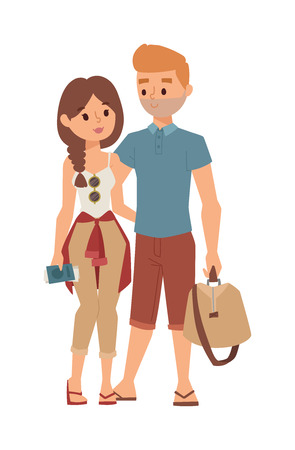 people travelling: Trip abroad happy young couple just won trip abroad and trip abroad concept. Vector couple people trip abroad and journey tourism vacation international, travelling people. Europe people travelling.