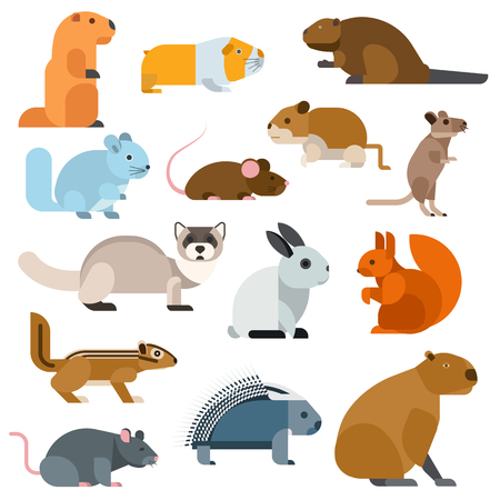 mink: Cute cartoon rodents animals, mouse cartoon in action set, with nine different cartoon rodents standing animals confident. Cartoon rodents mammal nature, mouse character, wildlife rat set.