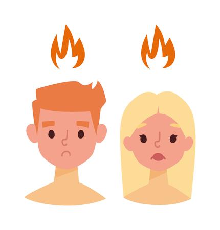 sunburn: Sunburn on boy and girl face and vector sunburn face character. Summer sunburn pain red skin and sunburn summer protection boy and girl face. Exposure redness danger sunbathing ultraviolet problem.