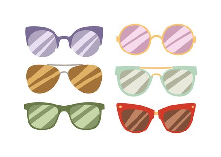 fashion glasses: Illustration of sun glasses vector. Beautiful young female fashion glasses and sexy sunglasses summer stylish fashion glasses. Fashion glasses trendy lifestyle accessory. Fashion glasses. Illustration