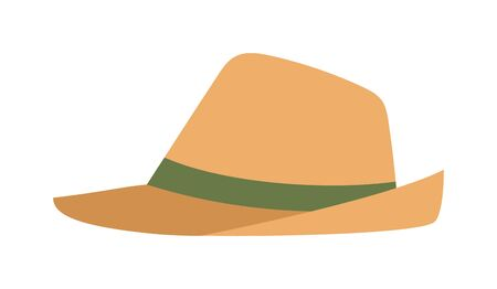 Sheriffs leather cowboy hat accessory and western cowboy human hat. Sheriff cowboy brown costume. Leather cowboy sheriffs leather hat western traditional clothing vector illustration