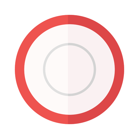 empty plate: Empty plate isolated on white, round dinner dishware vector. Empty plate circle dishware and clean empty plate. Round empty white plate flat vector illustration. Kitchen shiny ceramics plate.