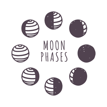 Moon phases moonlight dark new gibbous universe bright. Minimal moon phases flat vector illustration. Moon phases night space astronomy and nature moon phases sphere shadow quarter orbit. Banco de Imagens - 58833688