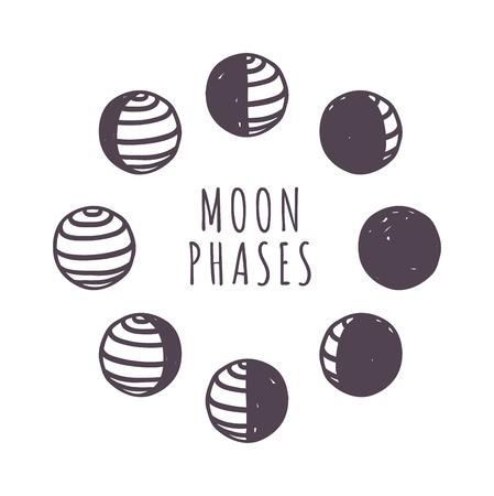 fases de la luna nueva Luna oscura brillante universo menguante. fases de la luna mínimos ilustración vectorial plana. Fases de la luna noche astronomía espacial y de la naturaleza fases de la luna sombra de cuarto de esfera órbita.