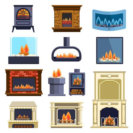 Set von Vektor-Kamin-Icons und Kamin-Design. Kamin Haus Raum warm Weihnachten Silhouette. Kamin Flamme hell Dekoration Kohleofen. Wohlige Wärme Kamin Sammlung.