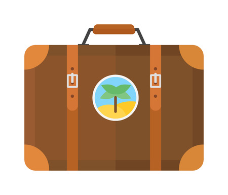 packing suitcase: Large travel bag suitcase isolated on white and suitcase travel voyage. Travel suitcase handle baggage and suitcase tourist packing. Summer travel vacation bag with stickers