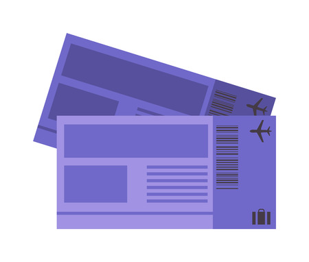airline: Vector illustration plane tickets. Holiday plane tickets, vacation plane tickets concept. Plane tickets travel, tourism business vacation, trip pass tourist flight symbol.