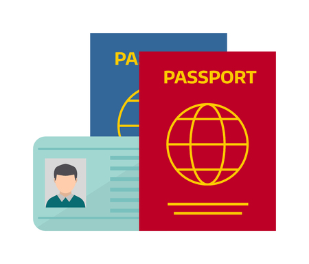 airline: Vector illustration passport with tickets. Holiday passport and tickets, vocation passport and tickets concept. Passport and tickets travel, tourism business vacation, trip pass tourist flight symbol.