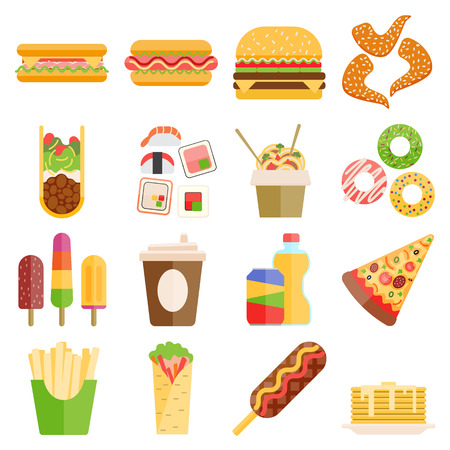 cheese pizza: Set of colorful cartoon fast food icons. Isolated fast food vector. Fast food hamburger dinner and restaurant, tasty fast food unhealthy meal and unhealthy fast food classic nutrition. Illustration